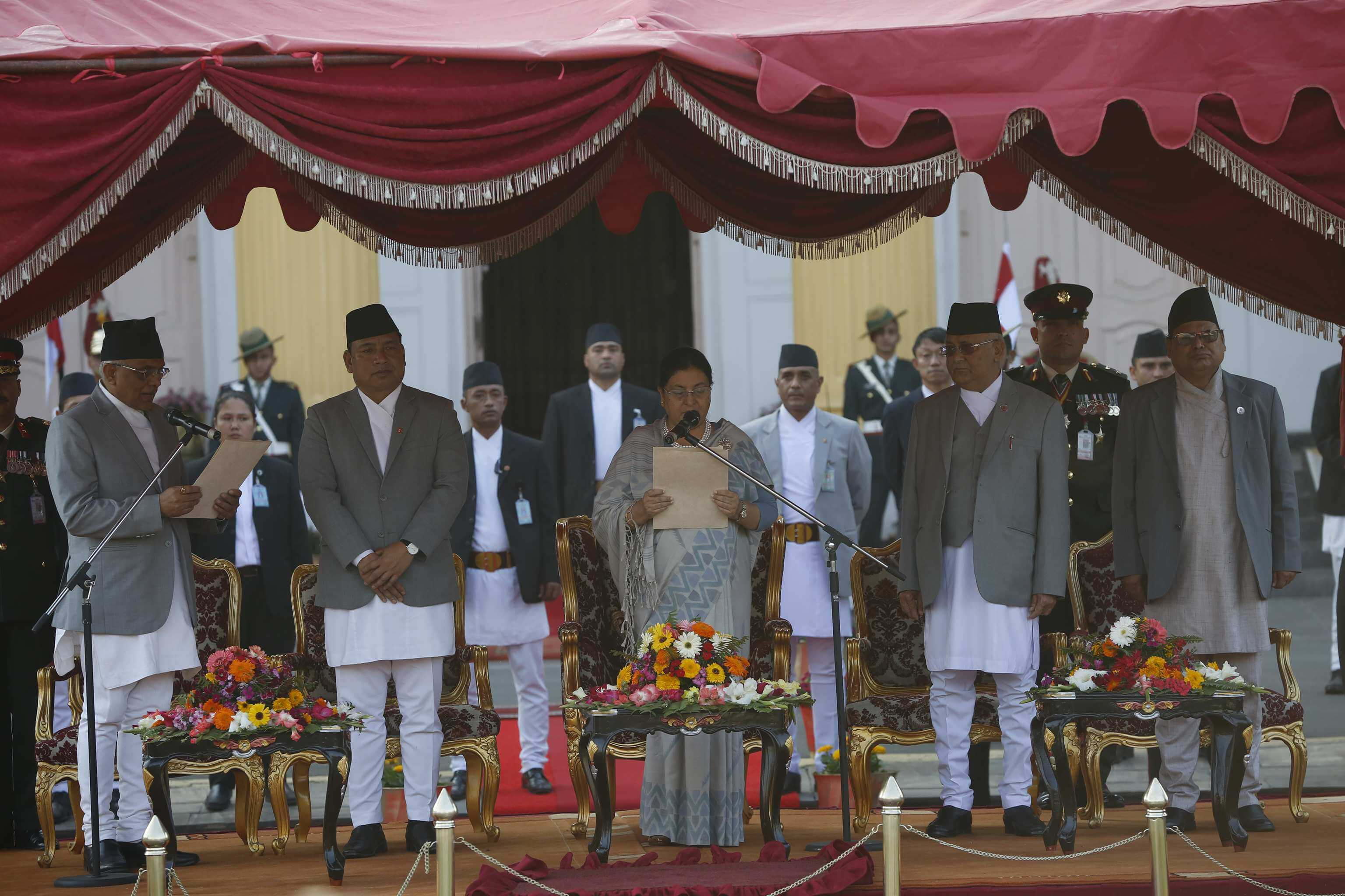 President Bidya Bhandari, re-elected as the Head of the State for a second term, takes oath of office and secrecy amidst a ceremony at Shital Niwas on Wednesday. She was administered the oath by Chief Justice Gopal Prasad Parajuli, who was dismissed by the Judicial Council just before he left for the ceremony.