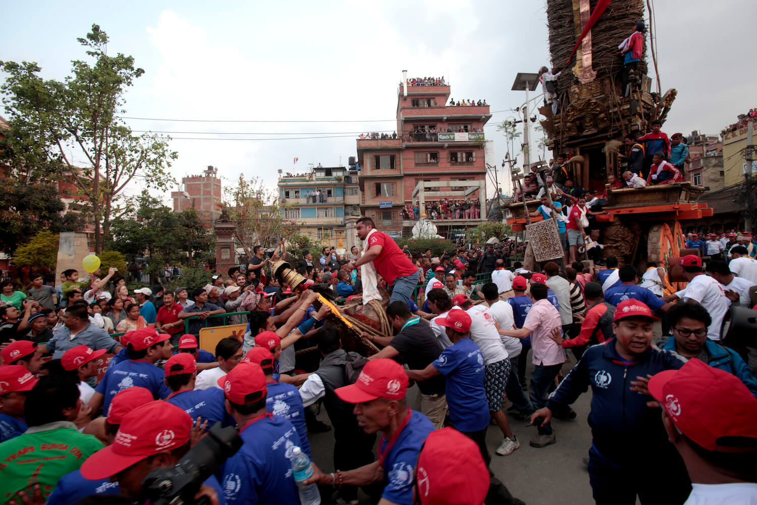 Devotee pull the Chariot of the rain god Rato Machhindranath in Lalitpur on Thursday. Today marks the beginning of the annual Rato Machhindranath Festival in Patan.