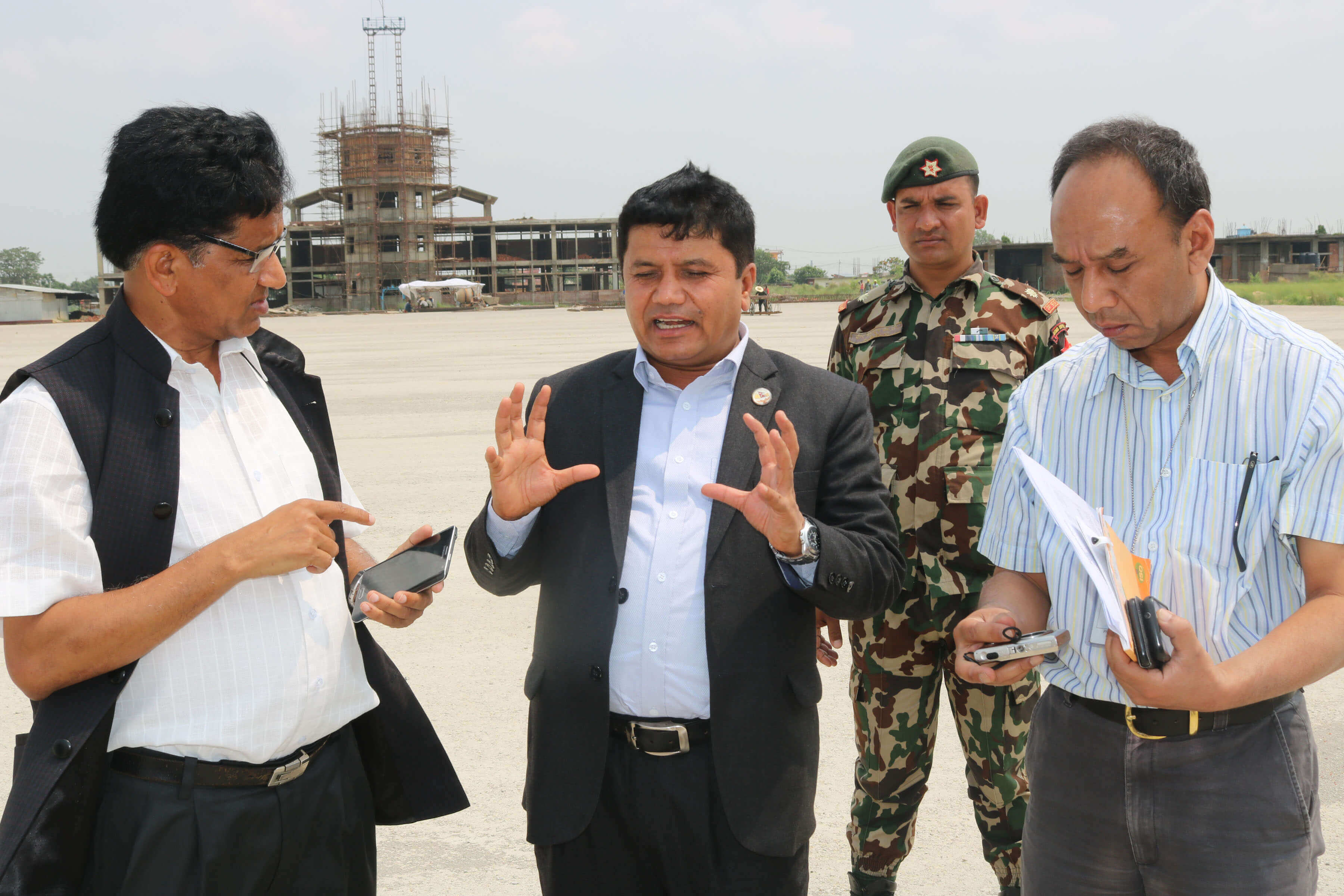Minister for Culture, Tourism and Civil Aviation Rabindra Adhikari inspects Gautam Buddha International Airport in Lumbini on Wednesday. The airport is currently under-construction and is expected to be completed by next year.