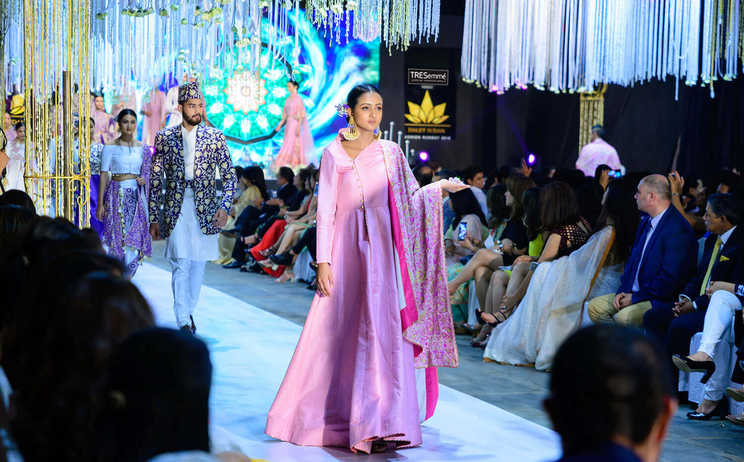 Models walk the ramp during the Daljit Sudan Fashion Runway 2018 held on Friday at Soaltee Crowne Plaza, Kathmandu. The event showcased Kashmiri embroidery with fabrics from Nepal, India, Italy and Japan in designer Daljit Kaur Sudan's latest collection inspired by saffron.