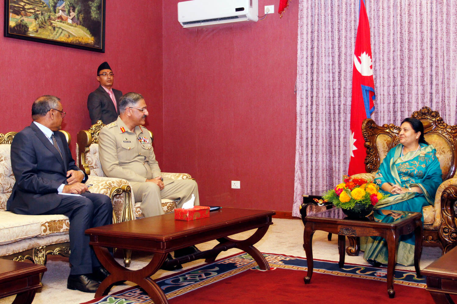Pakistan Armed Forces' Chairman Joint Chiefs of Staff Committee General Zubair Mahmood Hayat pays courtesy call to president Bidya Bhandari at her residence in Shital Niwas on Tuesday.
