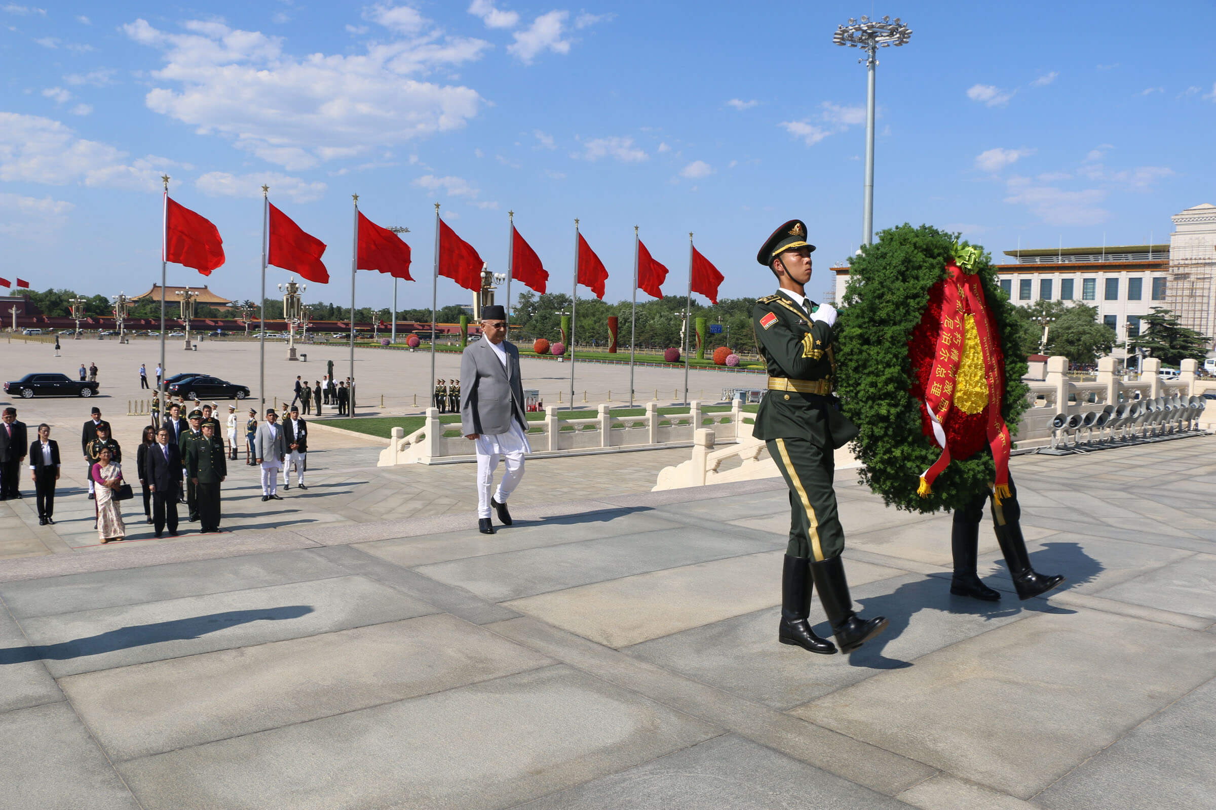 Prime Minister KP Oli laid a wreath at the Monument to the People's Heroes at the Tian'anmen Square in Beijing on Wednesday. Oli is scheduled to hold meeting with Chinese Premier Li Keqiang.