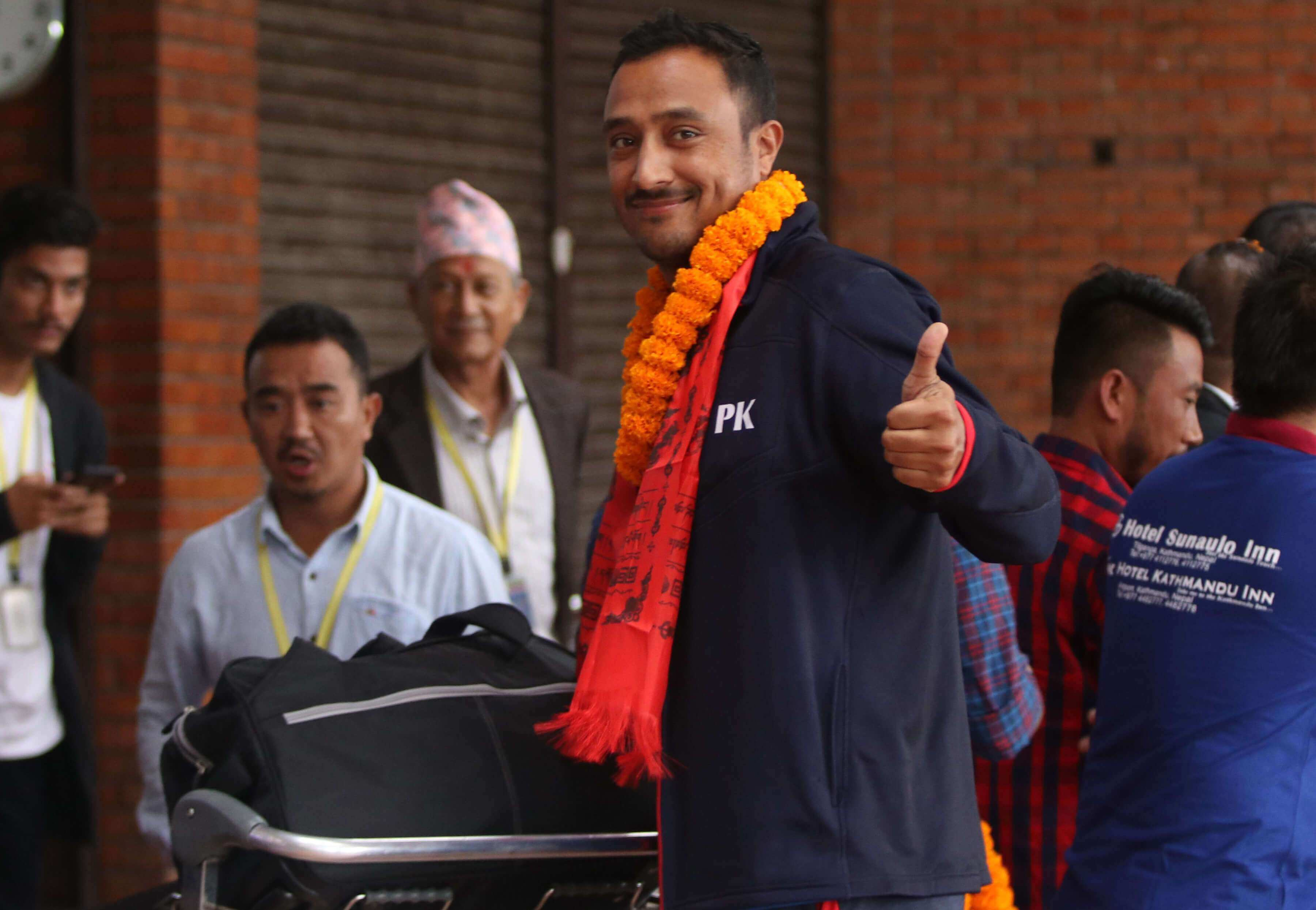 Nepali cricketers return home after the first ODI win