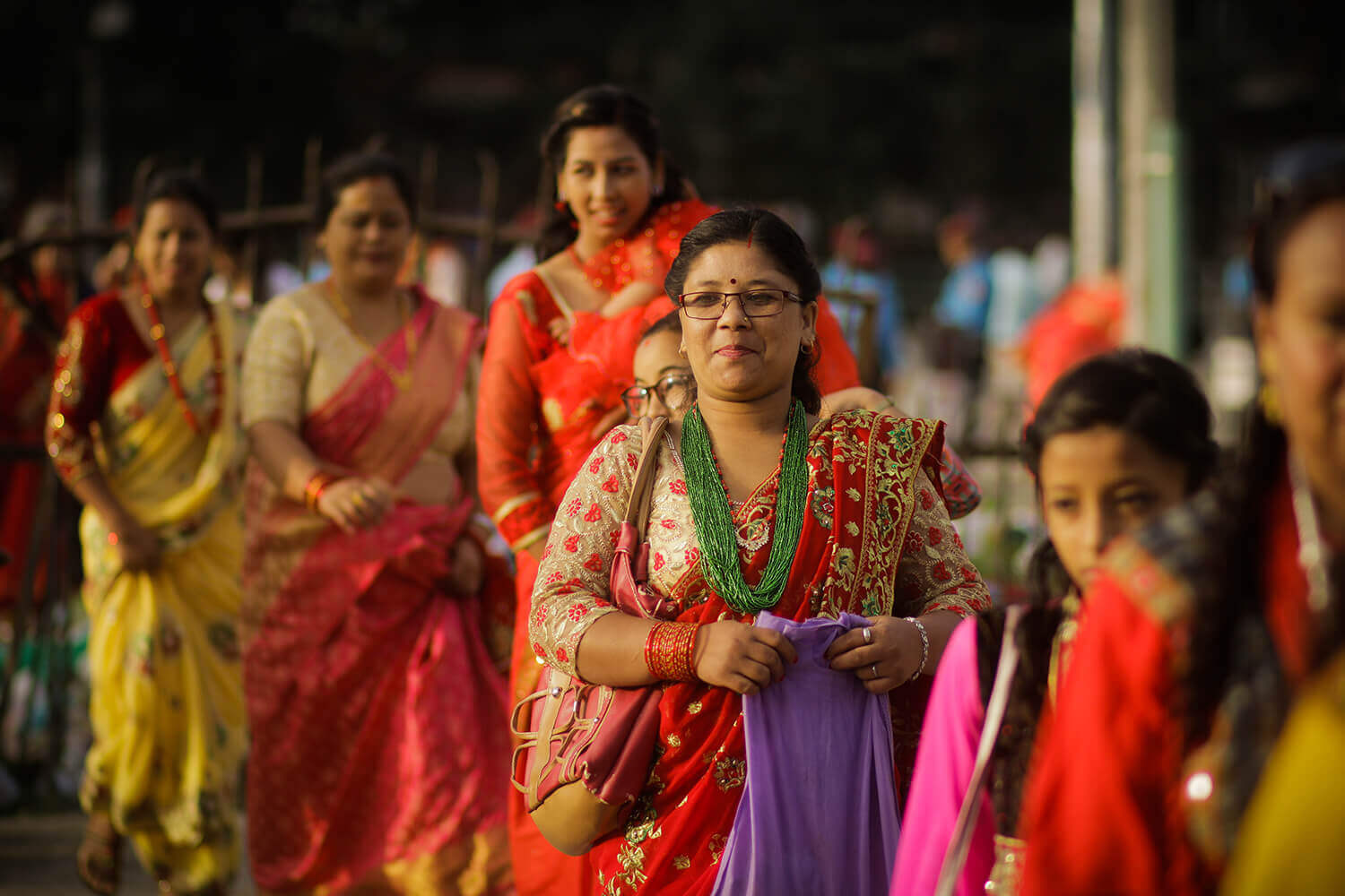 women line up at pashupati for tij