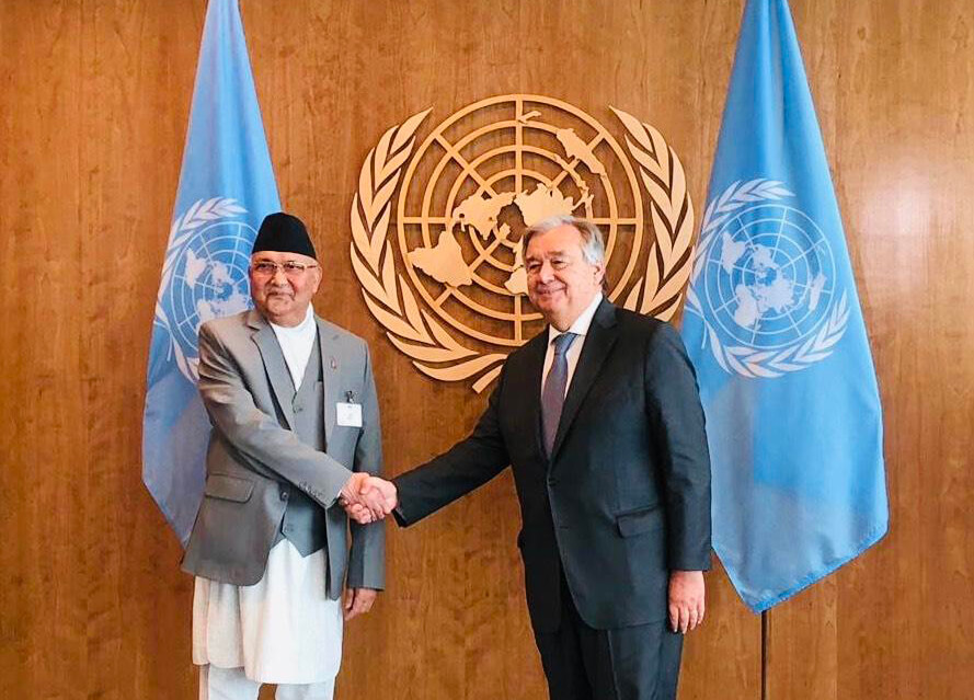 PM Oli with UN Secretary General