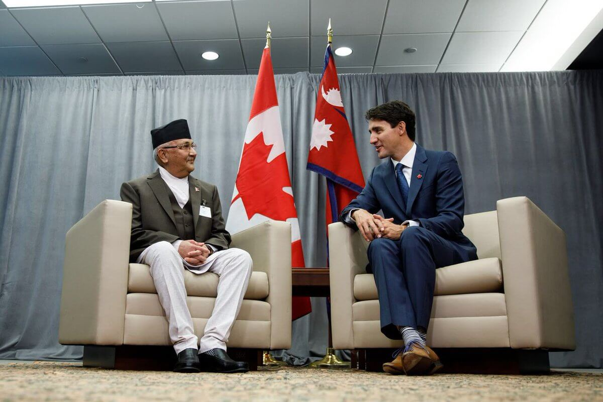 PM K P Oli with Canadian PM Justin Trudeau ‏