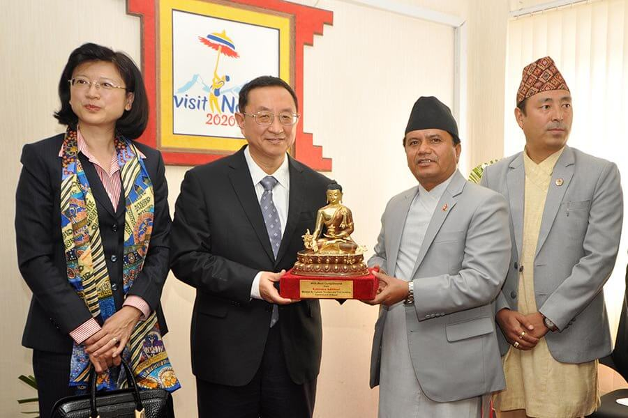 Tourism Minister Rabindra Adhikari with Chinese Ambassador to Nepal Yu Hong welcome Minister of Culture and Tourism of China, Luo Shugang at Singha Darbar on Tuesday.