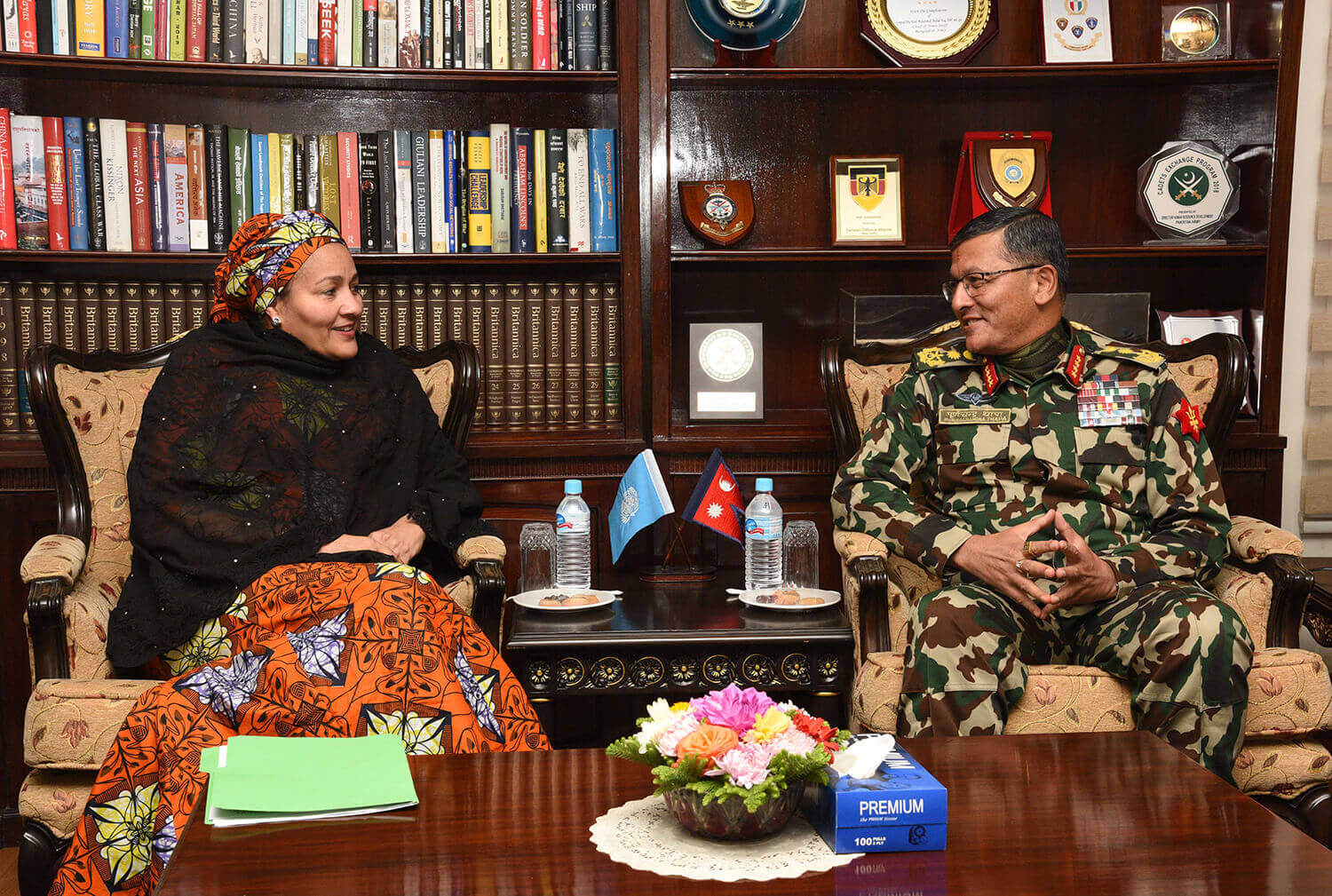 Nepal army chief with deputy general of WHO