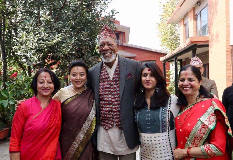 Hollywood actor Morgan Freeman was in Kathmandu this week to shoot a NatGeo documentary in which he hosts a show called The Story of God.