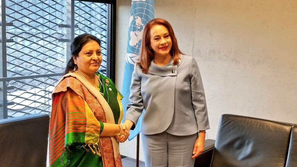 President Bidya Bhandari meets with María Fernanda Espinosa Garcés, president of the 73rd Session of UN General Assembly in Katowice on Monday. Bhandari is in Poland for the 24th climate change conference.
