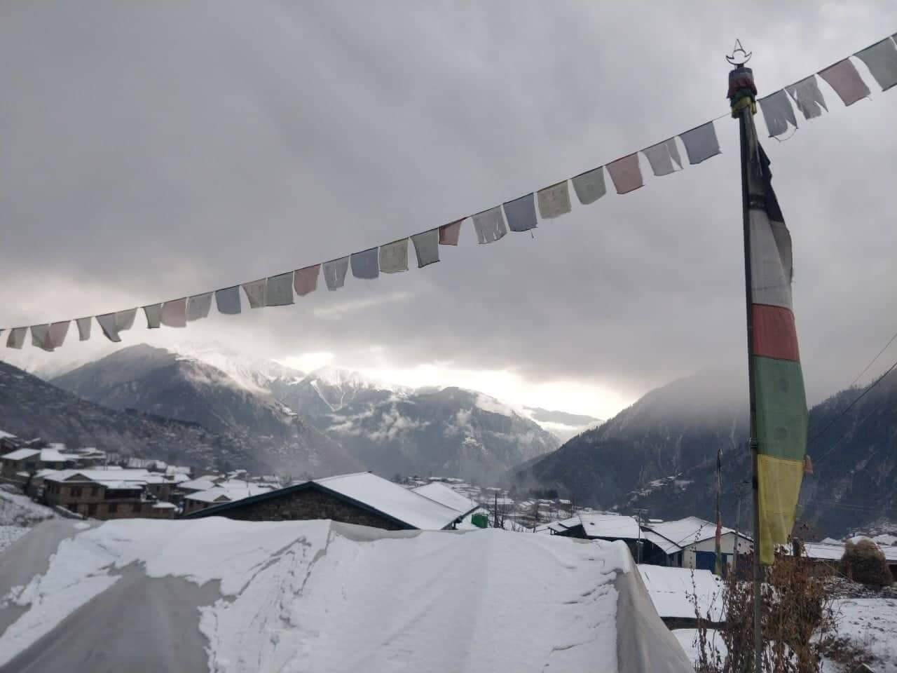 The season's first snowfall blankets Simikot in Humla district this week.