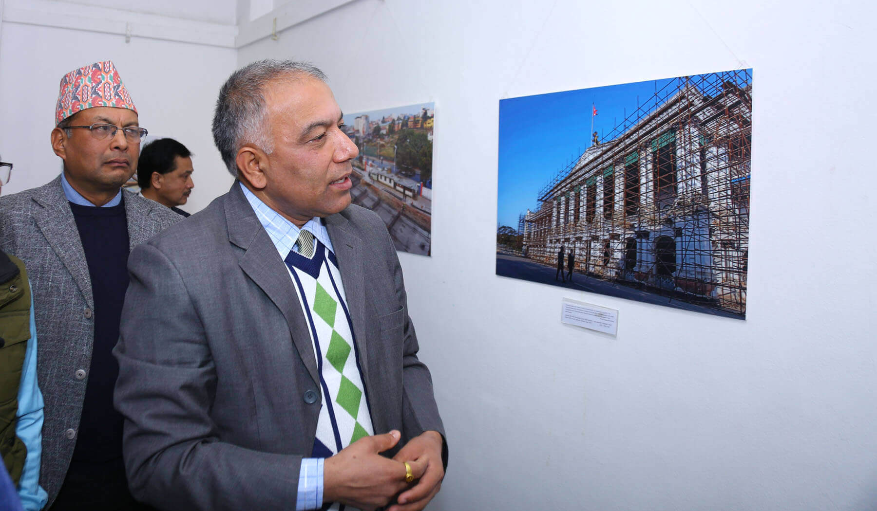 Sushil Gyawali at photo exhibition on reconstruction