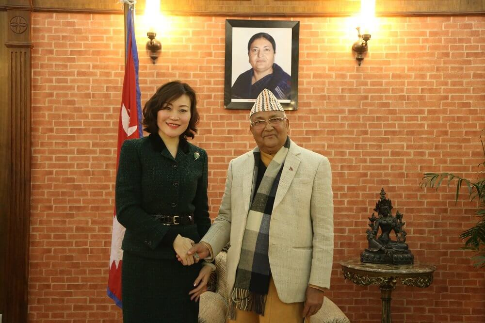 Prime Minister K P Oli meets newly appointed Chinese Ambassador to Nepal Hou Yanqi in Kathmandu on Tuesday.