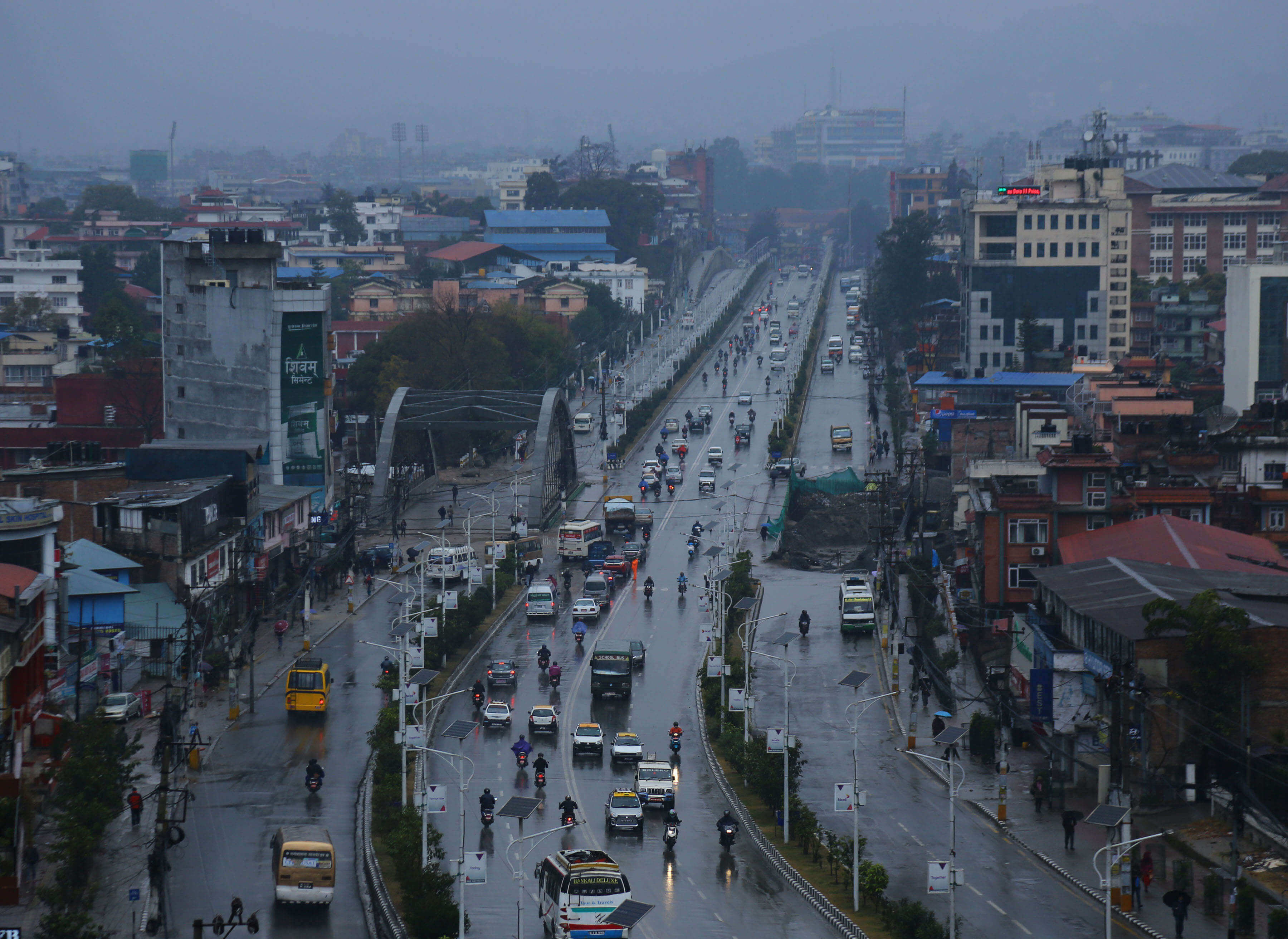 Rainfall as captured from Maitighar-Tinkune junction in Kathmandu on Wednesday. Kathmandu and most part of the country has been receiving light to moderate rainfall from Tuesday night.