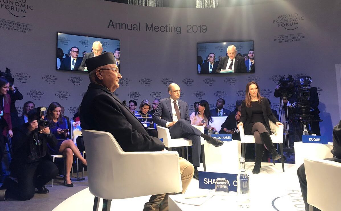 PM K P Oli speaks at the 'Shaping the future of democracy' session together with Columbian President Iván Duque Márquez, Armenian PM Nikol Pashinyan, publisher of New York Times A.G. Sulzberger and Daniella Ballou-Aares, CEO of Leadership Now Project in Davos on Wednesday.