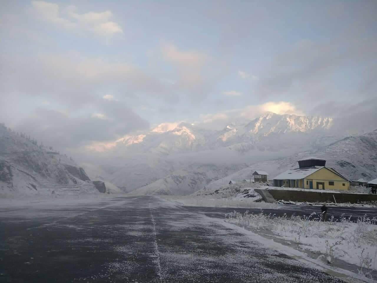Dolpo's Jufal airfield after snowfall