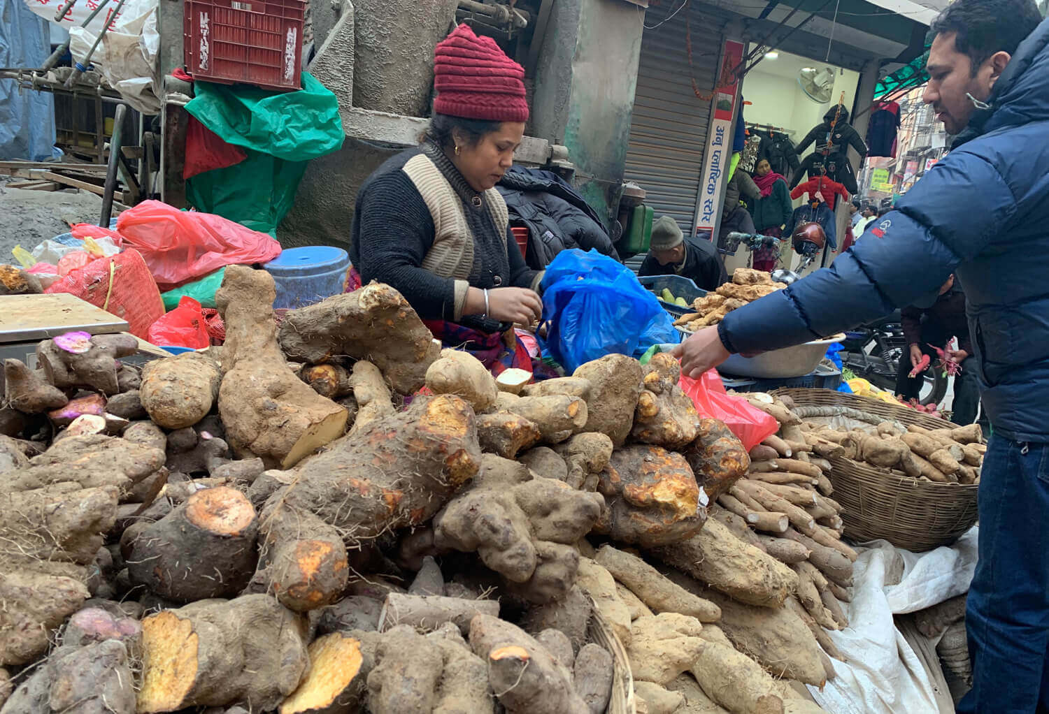 A vendor sells yams on the eve of Maghe Sankranti on Tuesday.