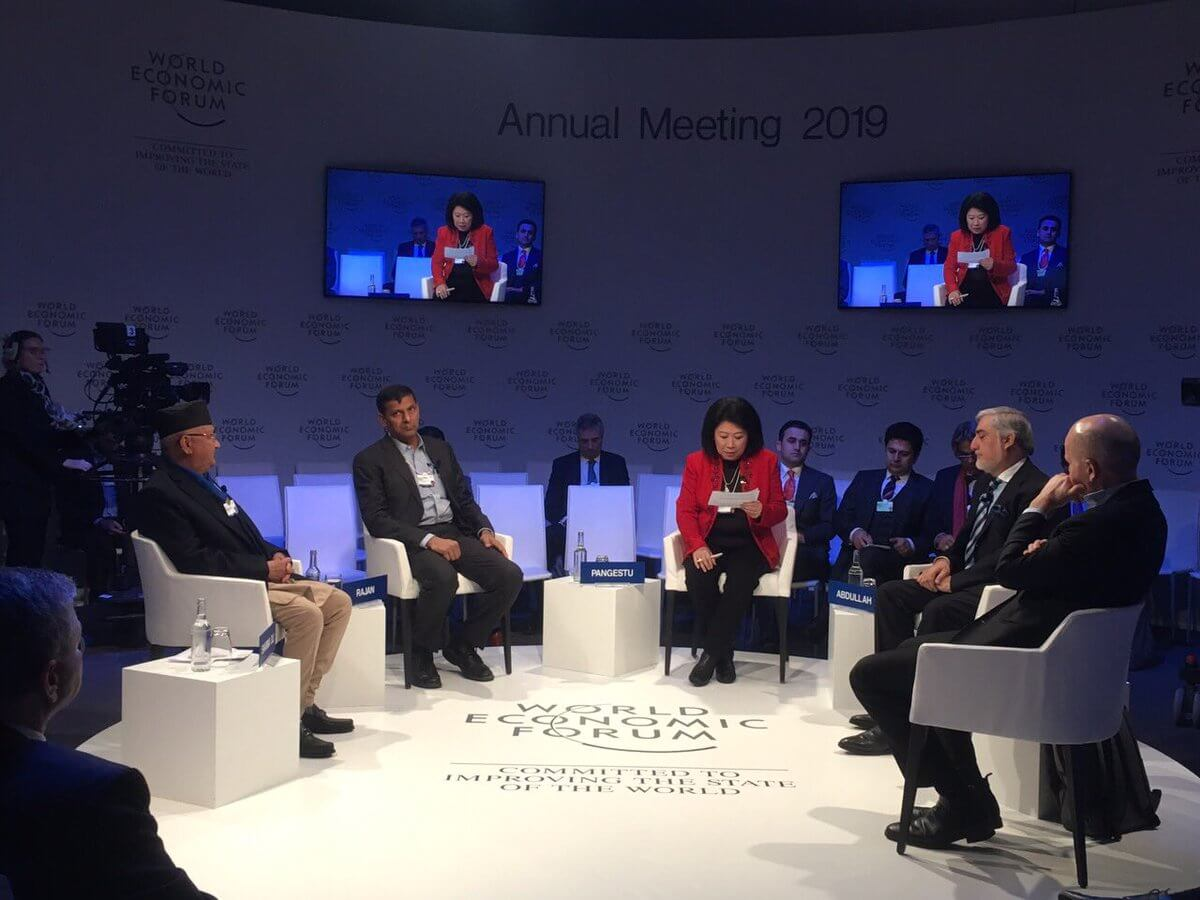 Prime Minister K P Oli Sharma addresses the 49th Annual Meeting of World Economic Forum (WEF) in Davos, Switzerland on Tuesday. This is the first time a Nepali leader has been invited to the summit.