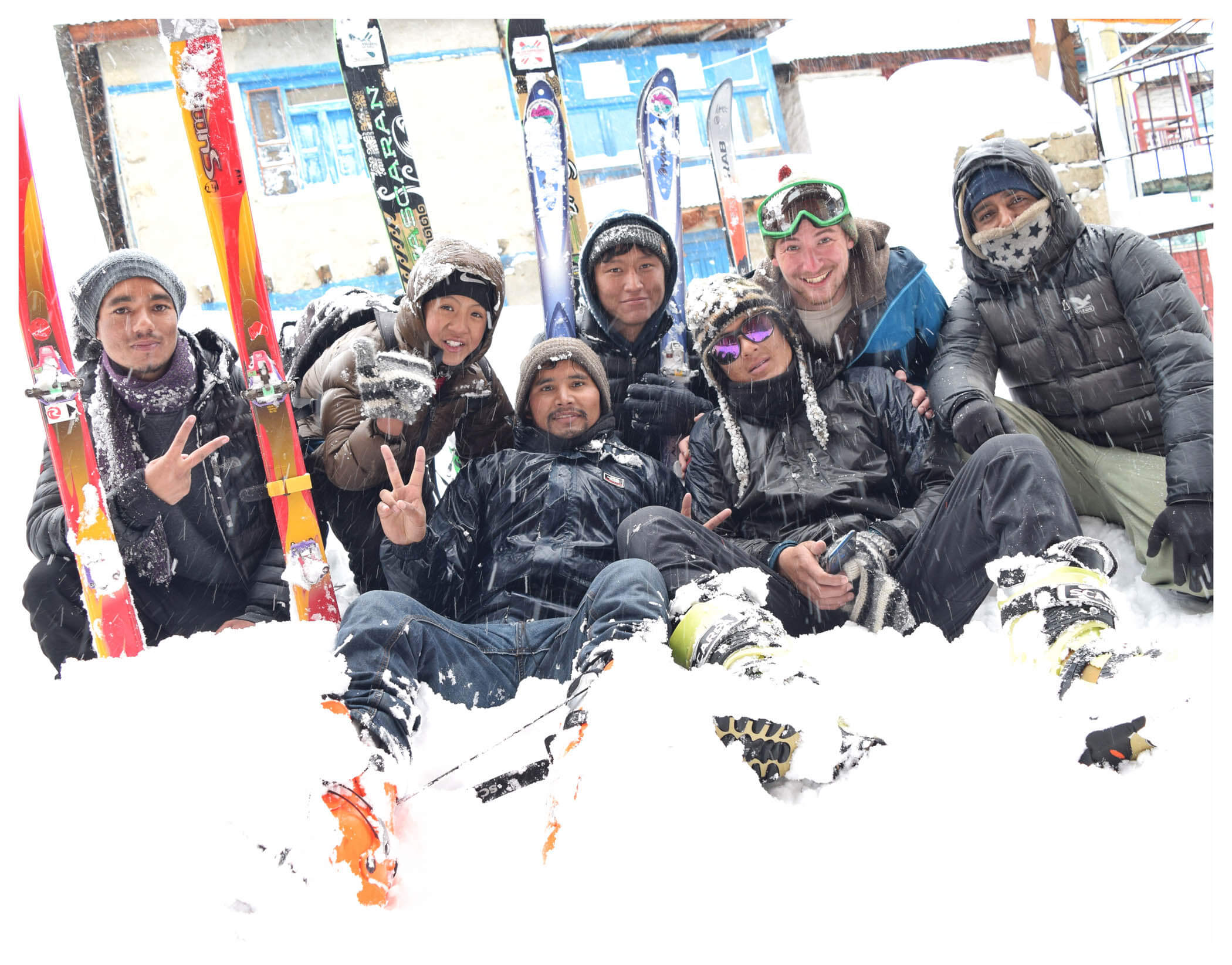 International and domestic tourists enjoy skiing and snowboarding organised by Humla Cultural and Tourism Promotion Youth Alliance in Humla on Wednesday morning.