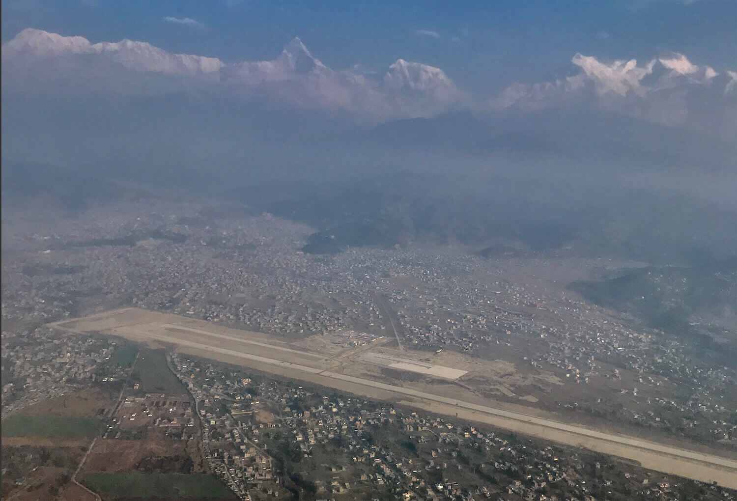 Construction of Pokhara's much-awaited new international airport has gathered pace, and is expected to be completed in early 2020. An aerial view taken on Sunday morning.