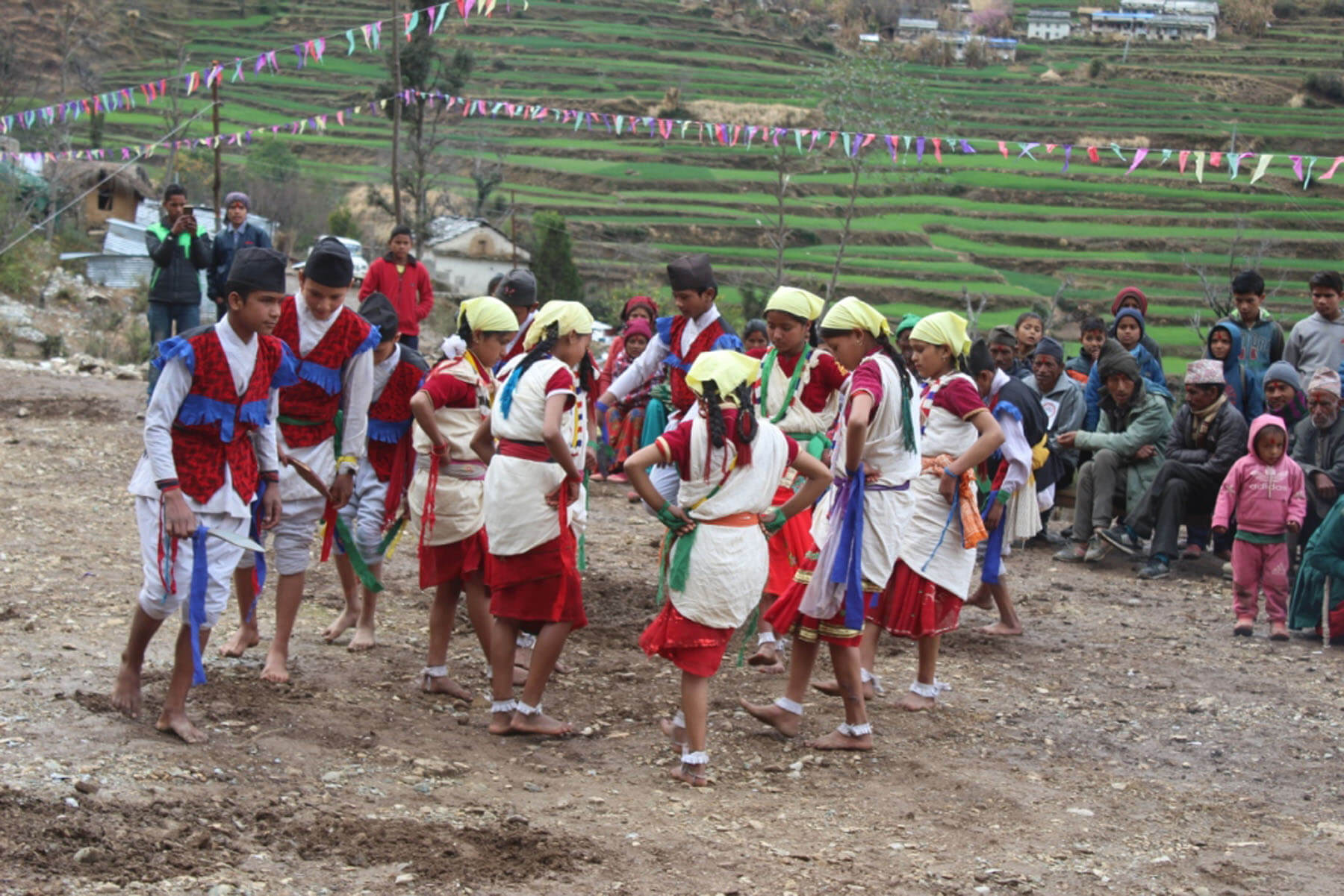 Students of Jalpa Higher Secondary School perform a dance at the inauguration of a Health Post Building in Pinalekh of Badimalika - 1 in Bajura district.