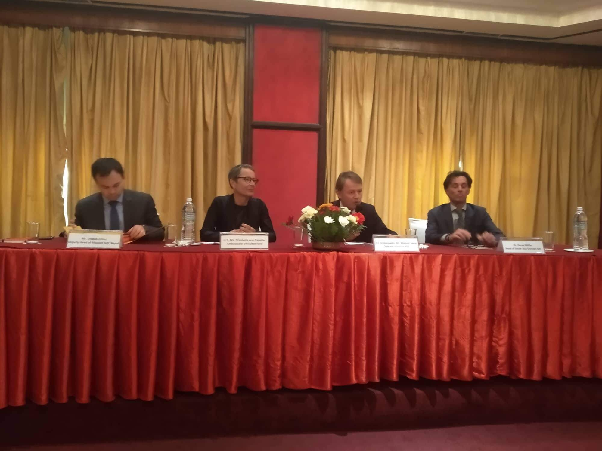 Manuel Sager, Director General of Swiss Agency for Development and Cooperation, addresses a press meet celebrating 60 years of cooperation between Switzerland and Nepal, at Himalayan Hotel, Lalitpur on Friday.