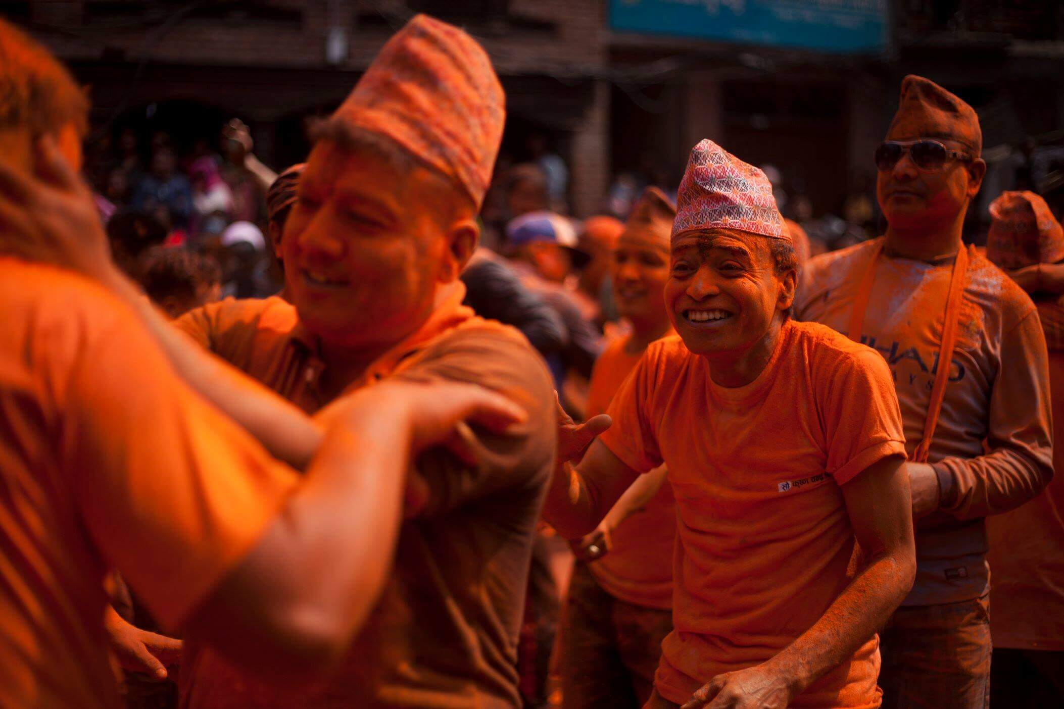 Devotees play with vermilion powder to celebrate Sindoor Jatra at Thimi on Monday. The festival is celebrated to mark the Nepali New Year and the beginning of the spring season.