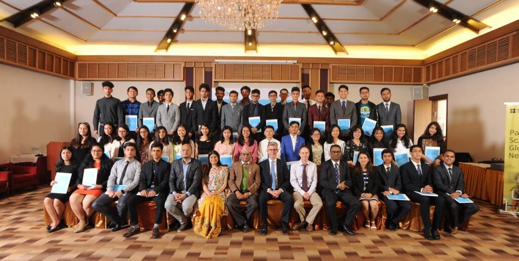 British Ambassador Richard Morris takes a group photo with the students who received Cambridge Outstanding Learners Award at Hotel Himalaya in Kathmandu on Friday. Students were awarded for scoring highest marks in Nepal, with three receiving highest marks in the world.