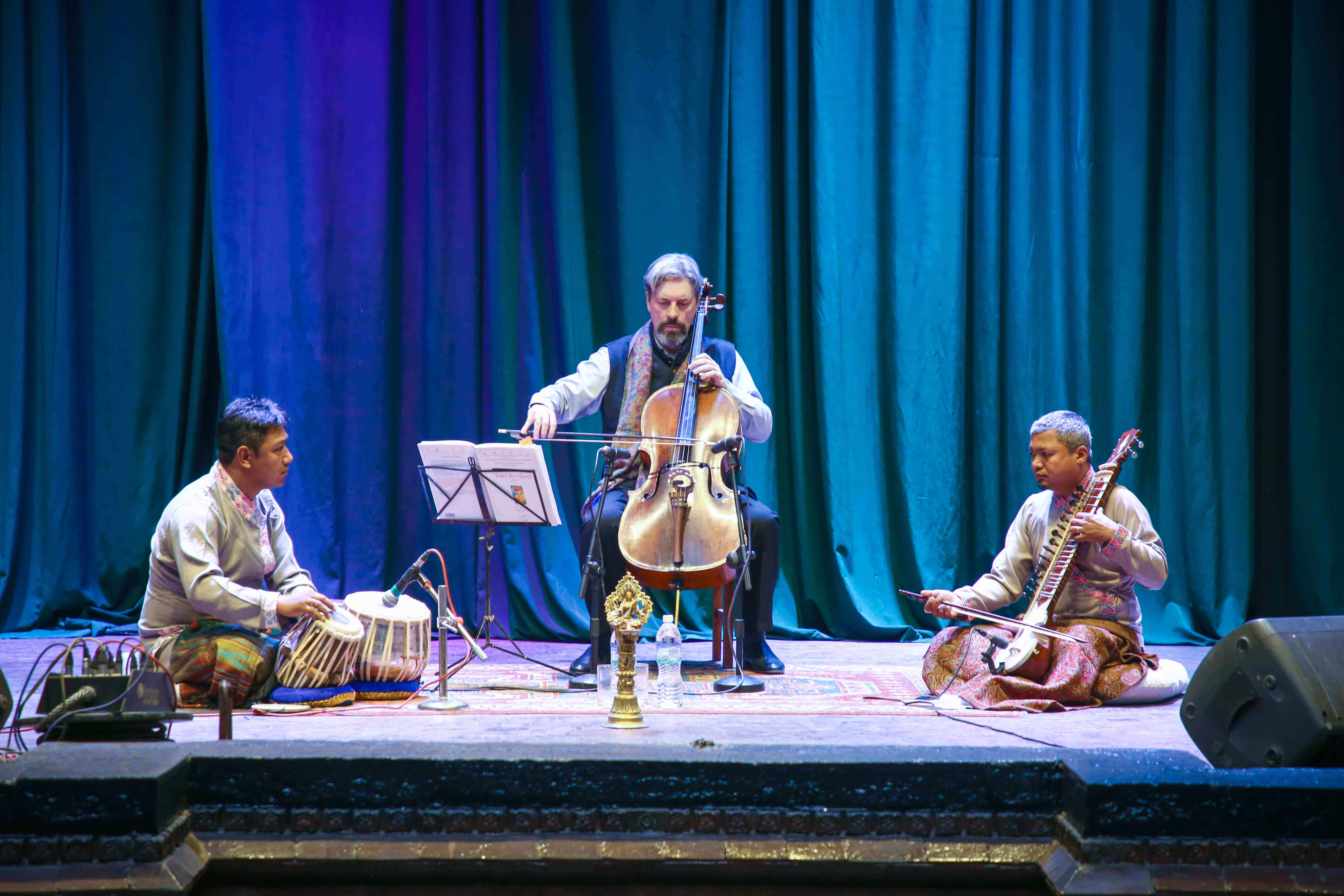 Artists from Singhini Consort perform during a function jointly organised by the French Embassy and the Ministry of Foreign Affairs on Saturday to mark the 70th anniversary of Nepal-France bilateral relations.
