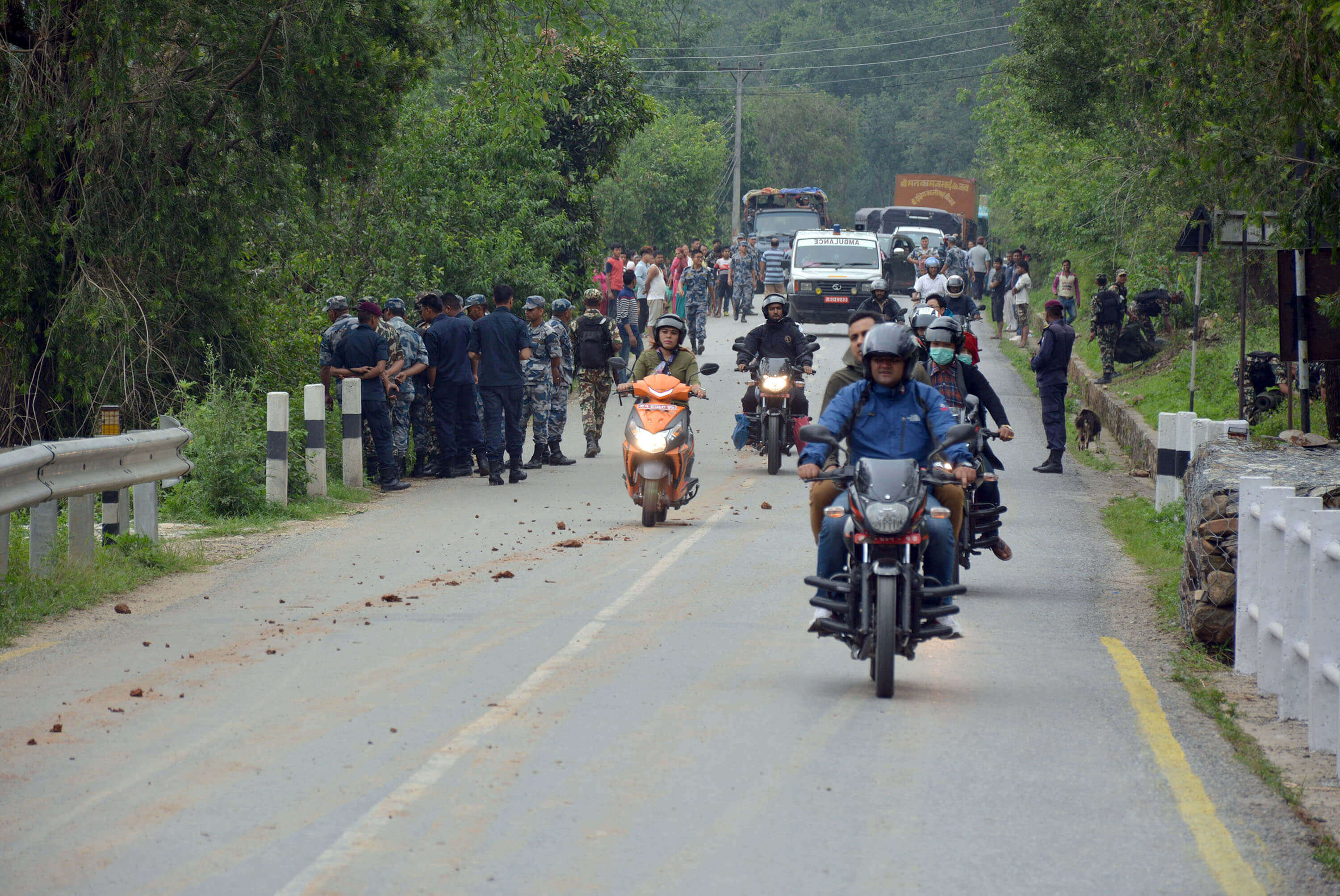 Locals go on with their daily life after a team from Nepal Army dismantled a suspicious object found in Byas Municipality, Tanahu on Monday morning. The Nepali Communist Party Maoist led by Netra Bikram Chand (Biplav) called nationwide strike on Monday, which saw multiple cases of suspicious objects across the country.