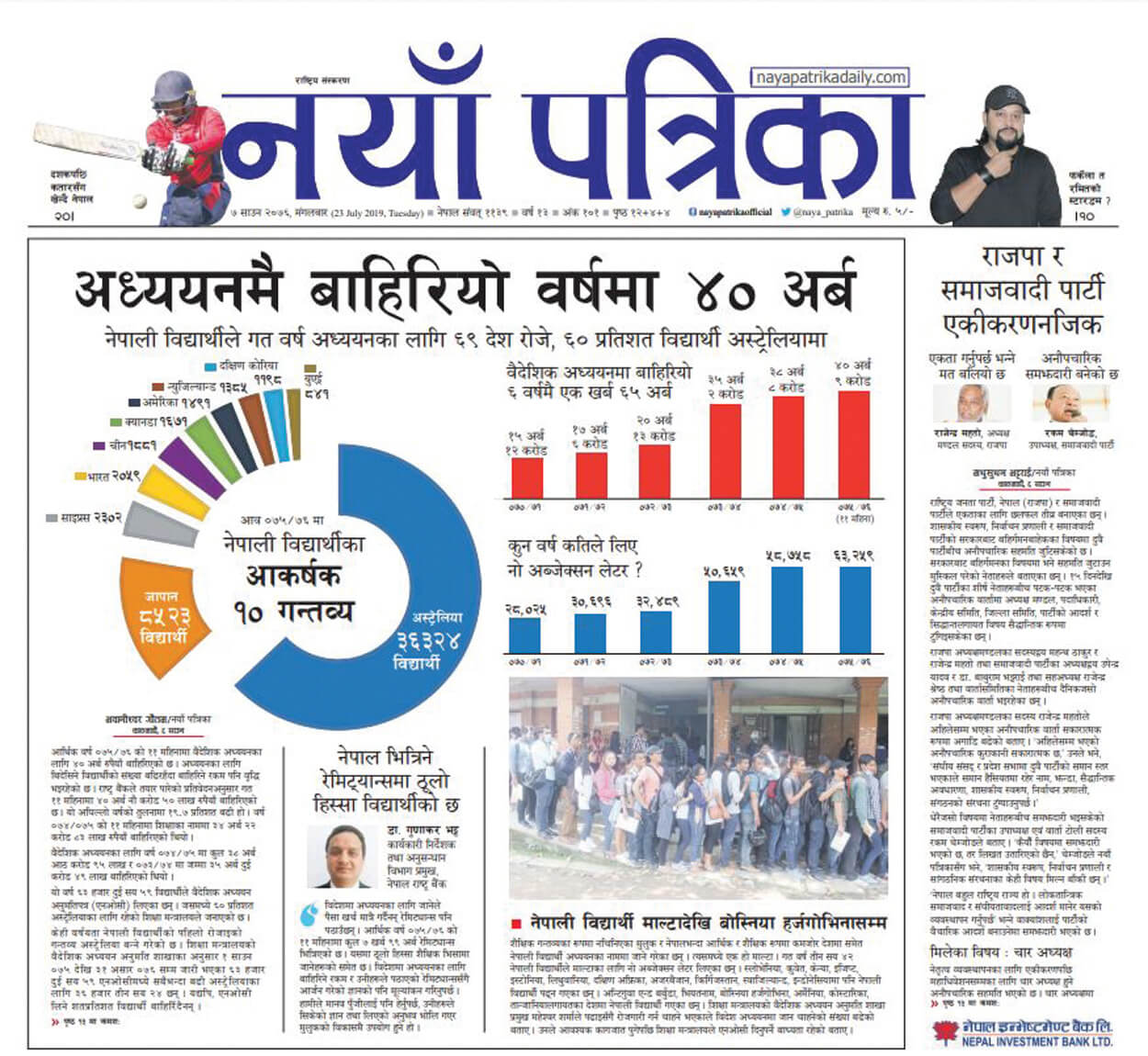 Rs40 billion outflow  by Nepali students