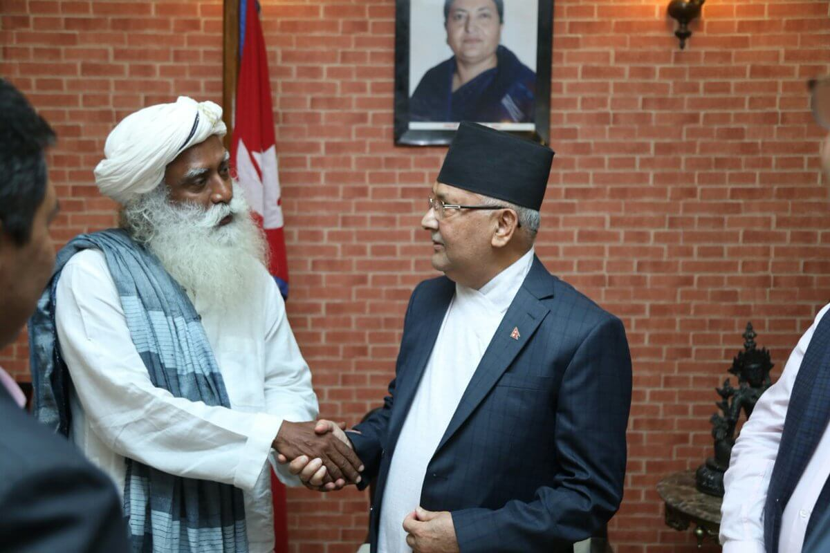 Renowned spiritual figure Sadhguru meets with Prime Minister KP Oli in Kathmandu on Tuesday.