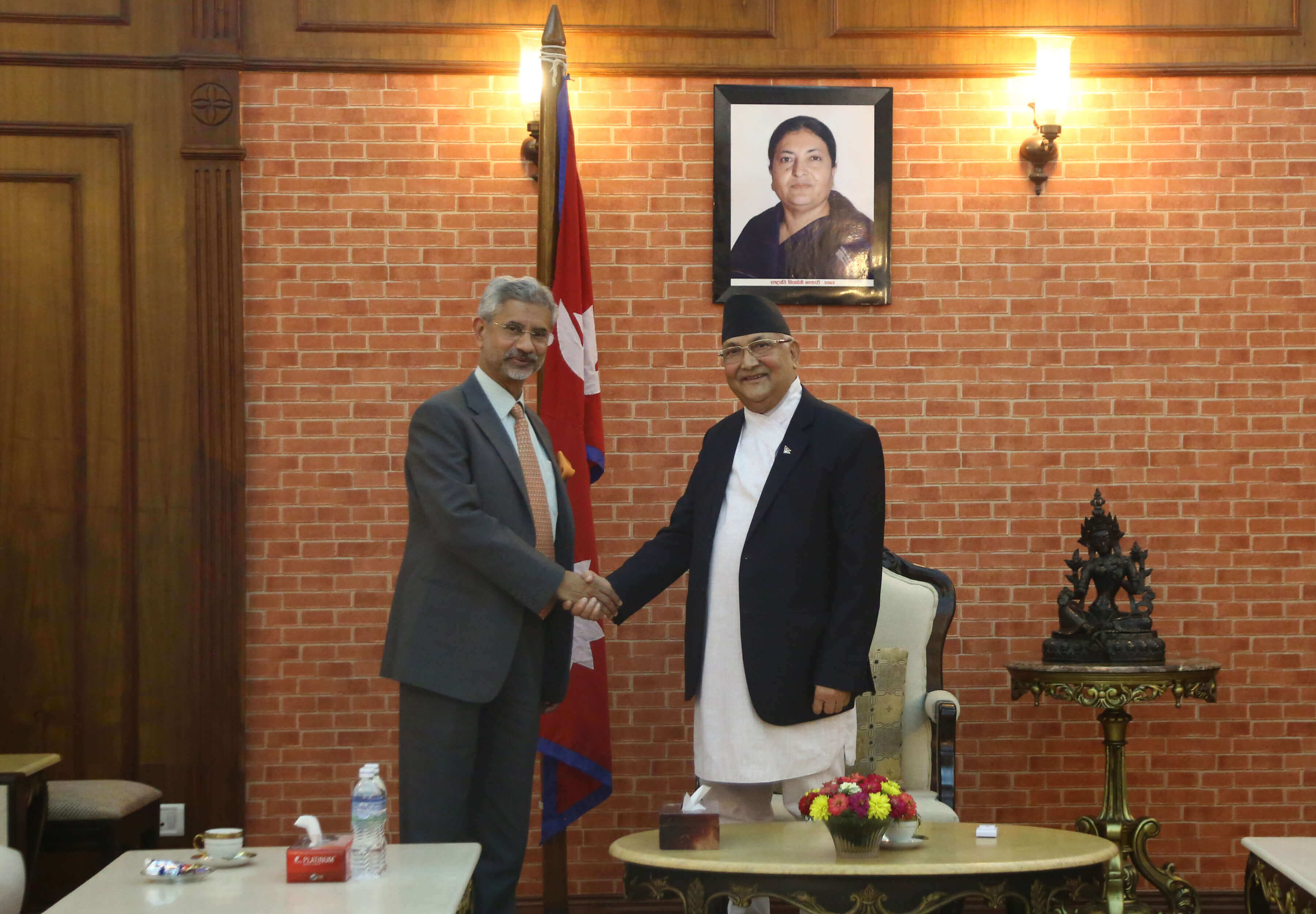 External Affairs Minister of India Subrahmanyam Jaishankar meets with prime Minister KP Oli in KAthmandu on Wednesday. Jaishankar is in Kathmandu for the 5th Joint Commission Meeting between India and Nepal.