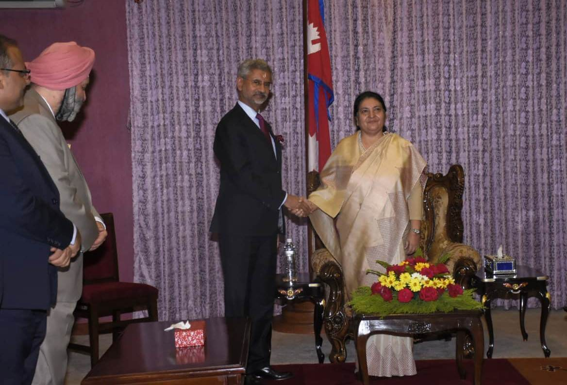 External Affairs Minister of India S Jaishankar met President Bidya Devi Bhandari on Wednesday during his two day visit to Kathmandu. Jaishankar visited Pashupatinath earlier in the morning.
