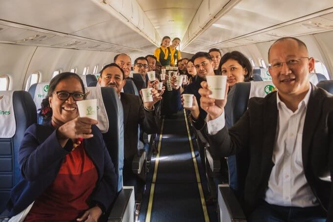Yeti Airlines' paper cups on board