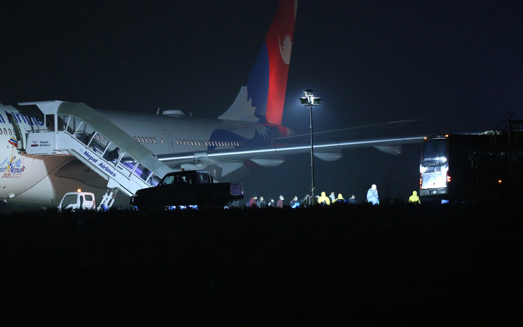 A Nepal Airlines Airbus 330 landed at 3:30AM at Kathmandu with 175 Nepali students from Hubei province. Six students with fever were left behind for hospitalisation in Wuhan.