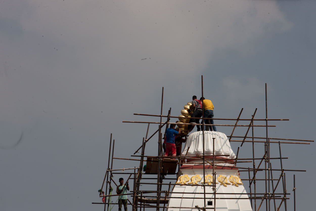 Reconstruction of Kathmandu's Rani Pokhari which was destroyed in the earthquake five eyars ago is in its final stages. Officials placed the top gajur to the Balgopaleswar temple on Thursday morning.