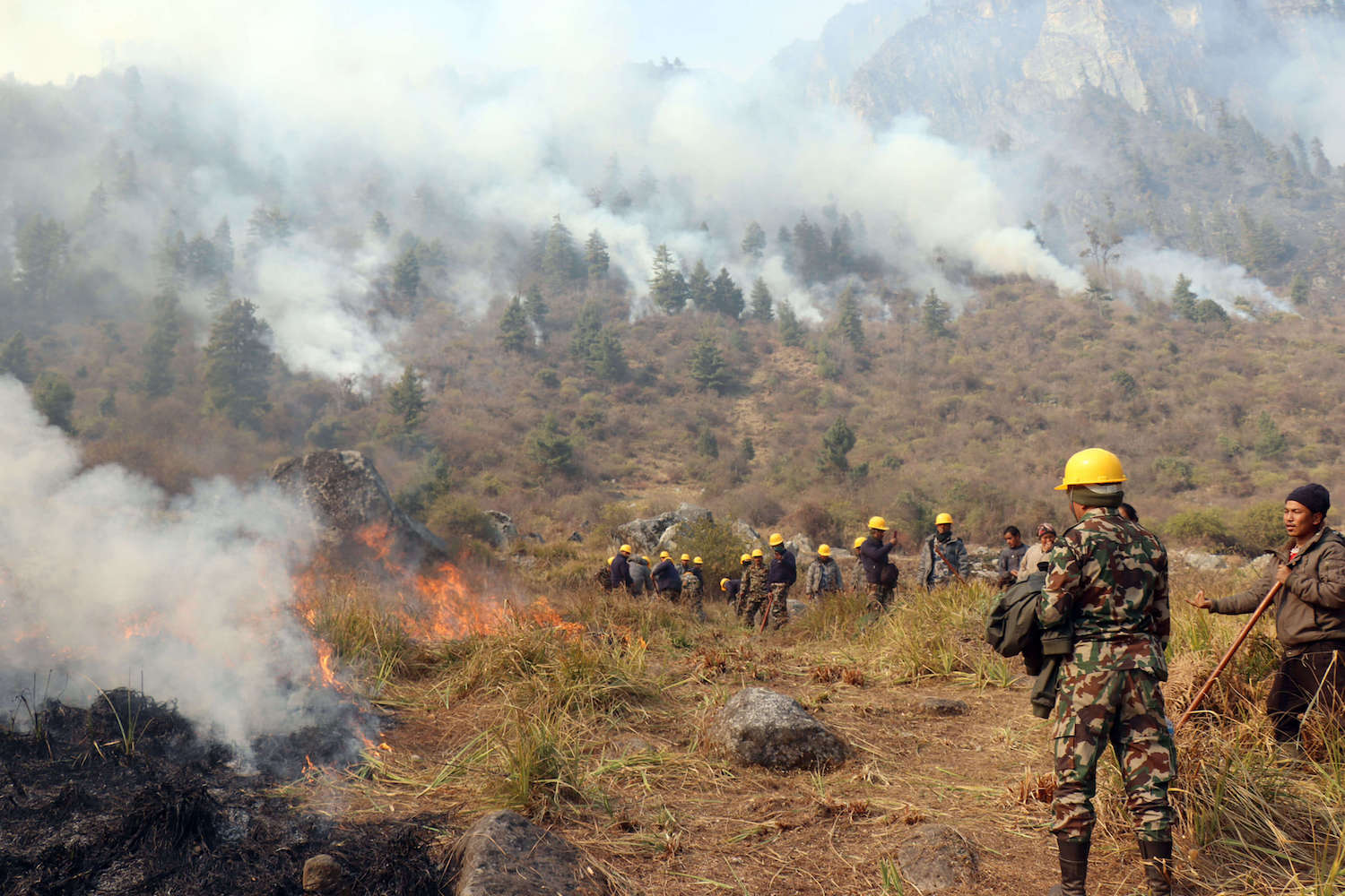District administration staff and local volunteers try to control the forest fire that has been raging since 23 November in Manang.
