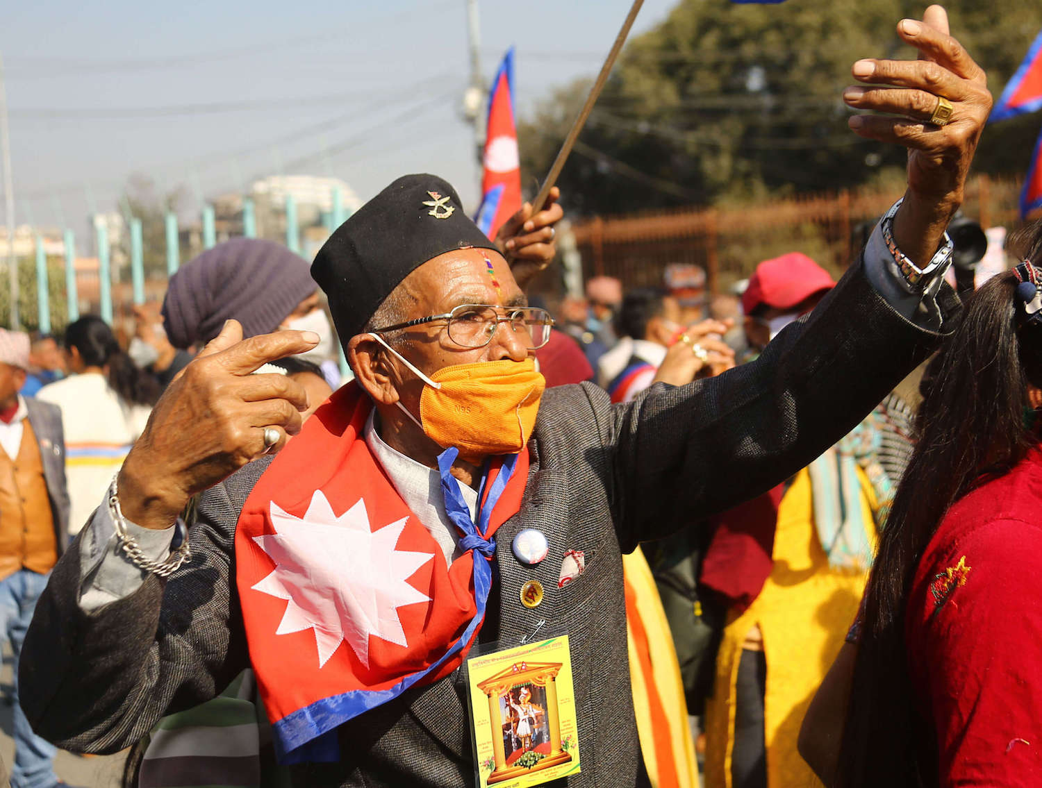 Locals participate in an event to mark National Unity Day and King Prithvi Narayan Shah's 299th birth Anniversary in Singha Darbar, Kathmandu on Monday.