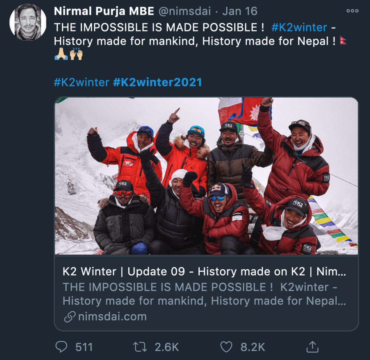 Nepalis on K2 make the impossible possible