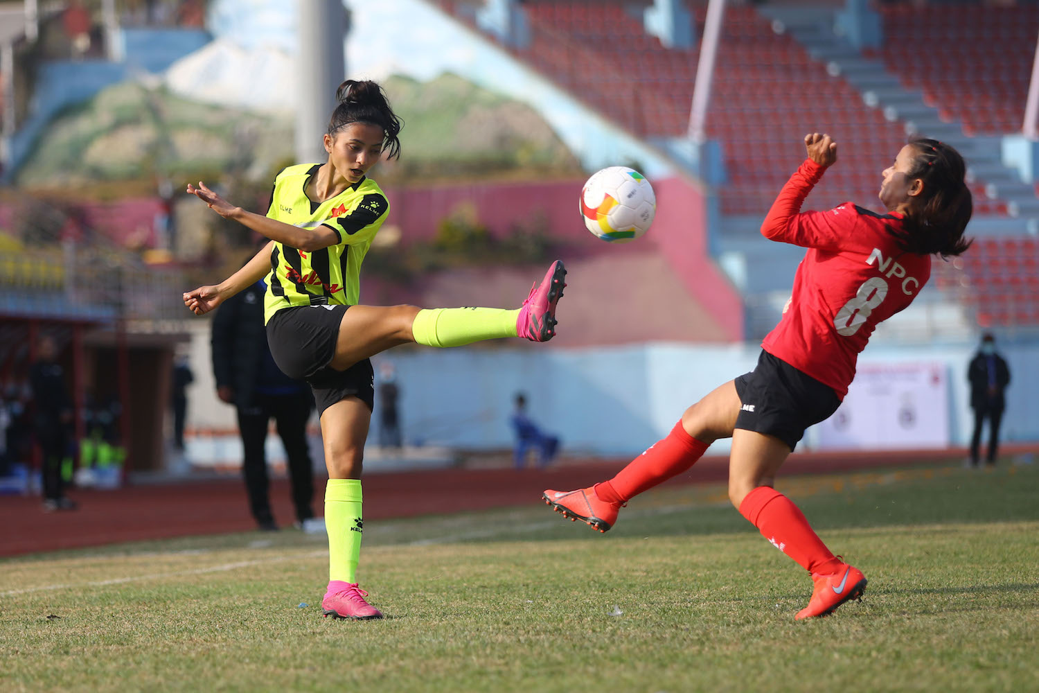 Tribhuvan Army Club and Nepal Police Club footballers during their National Women's League match held in Dasrath Stadium in Kathmandu on Wednesday.