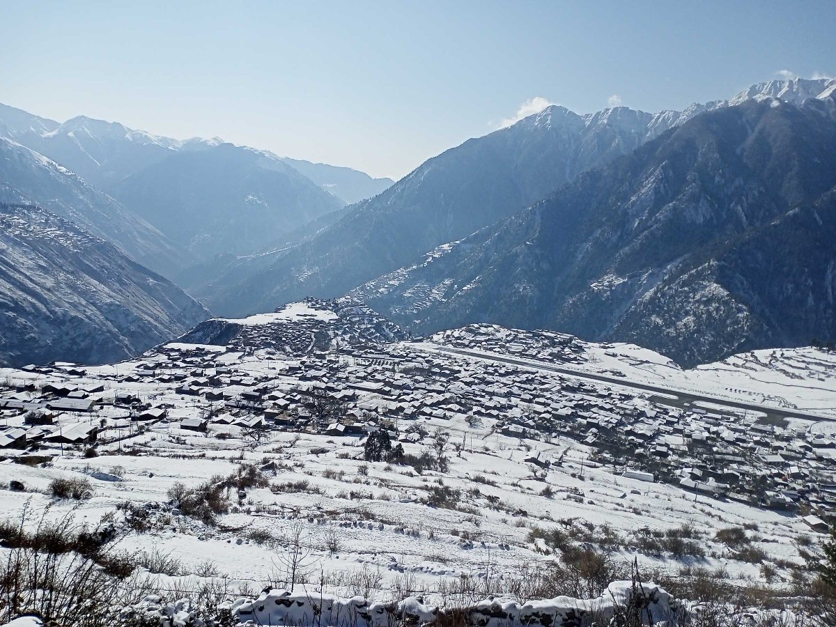 Snowfall ends drought in Nepal mountains