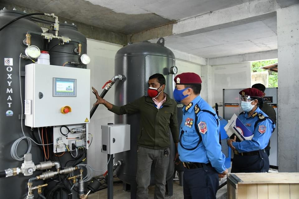 The British Embassy installs an oxygen plant with the capacity to generate 160 large cylinders per day at the Police Hospital in Kathmandu on Wednesday.