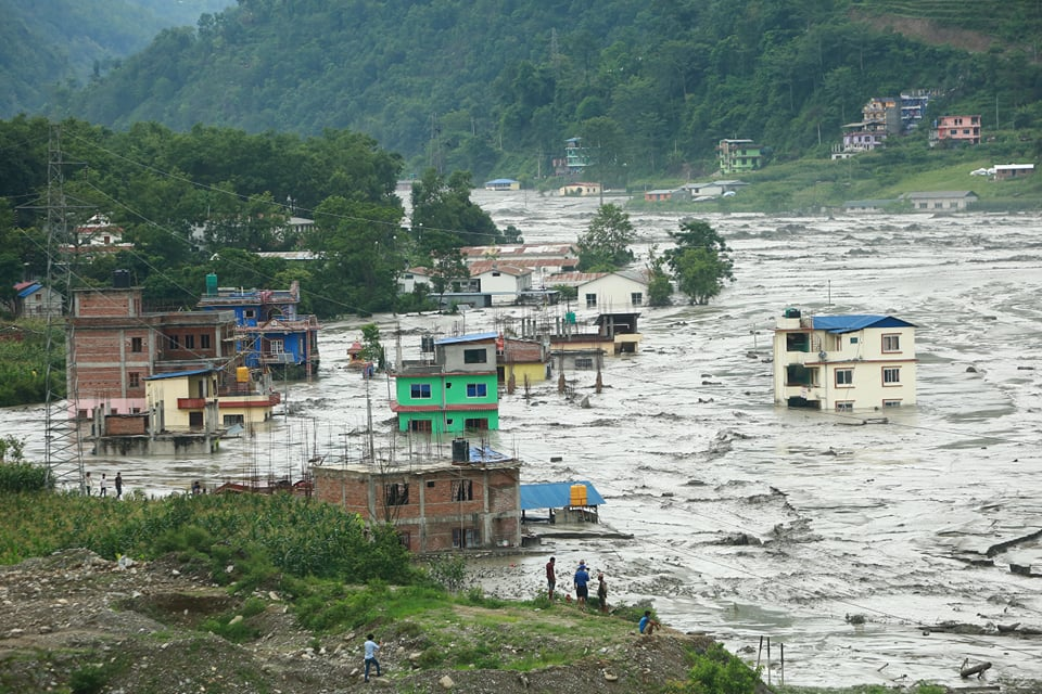 Heavy showers continued on Wednesday across central Nepal. One of the worst affected areas is 40km northeast of Kathmandu in Melamchi Bazar, where dozens of people are reported missing and infrastructure washed away by flash floods.