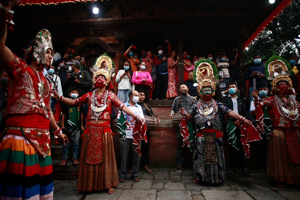 Masked dancers perform Di Pyakhan on the first day of Indra Jatra in Hanuman Dhoka on Saturday.
