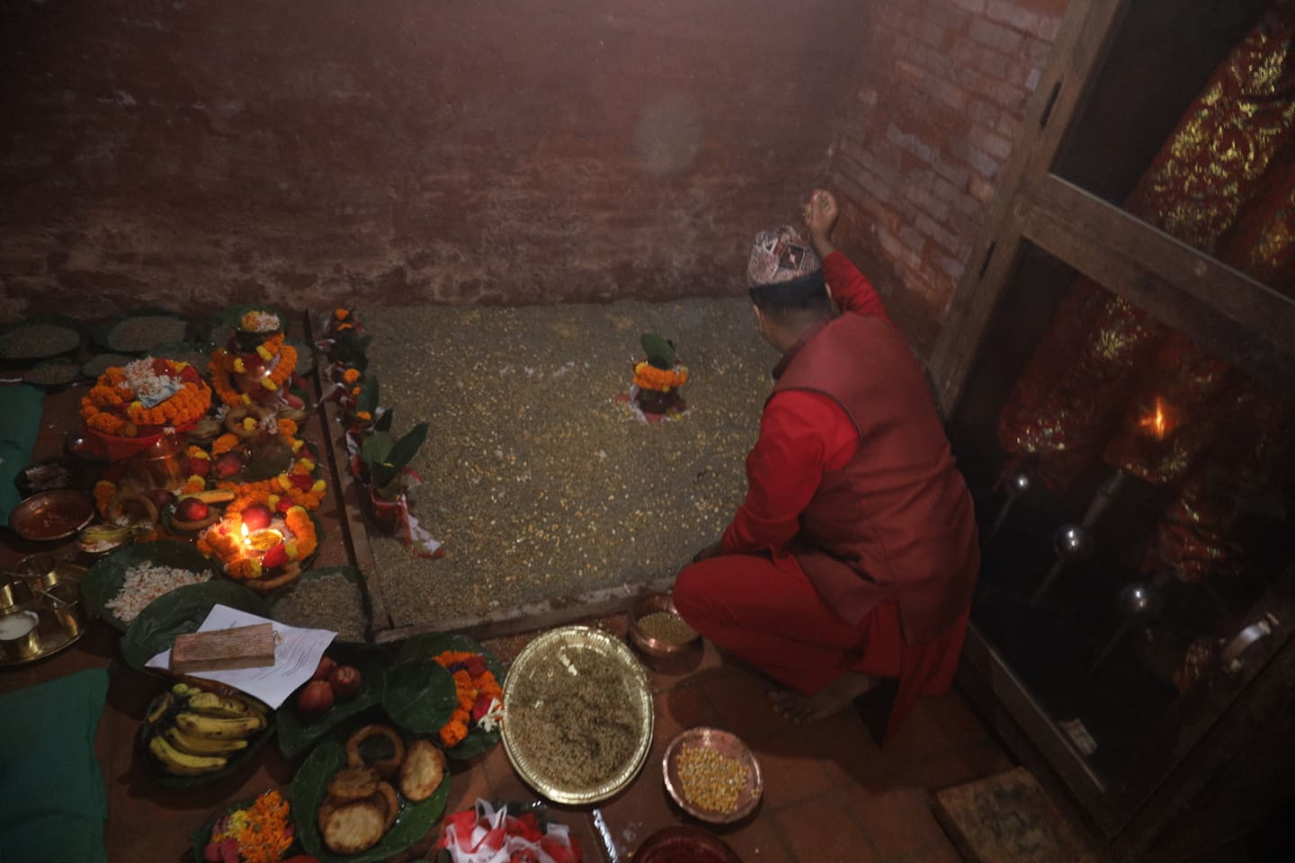 Jamara, barley seeds are sowed amidst a special ceremony at the Dasain Ghar in Hanuman Dhoka during Ghatasthapana on Thursday, marking the start of Dasain.