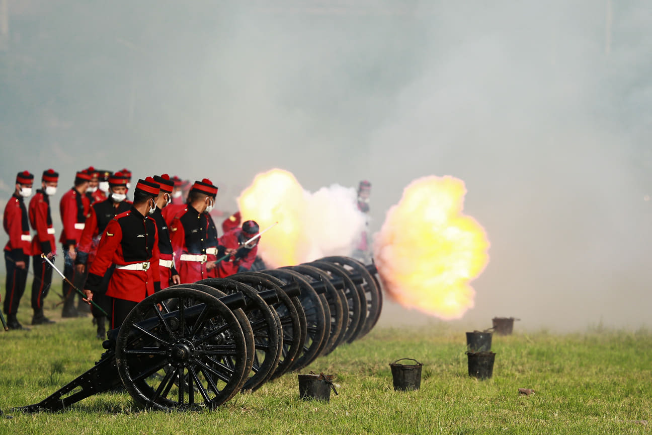 Nepal Army soldiers at the Army Pavilion in Kathmandu fire canons as part of preparations ahead of Fulpati, which is the seventh day of Dasain.